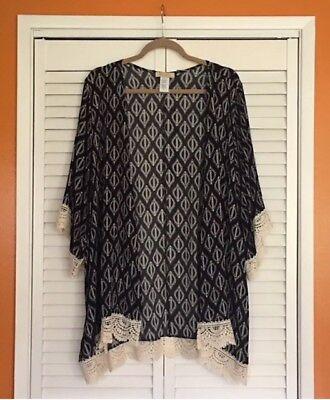 2X/3X New Floral Black Ivory Lace Print Kimono Jacket Top Rayon Topper Cardigan Lace Print Jacket