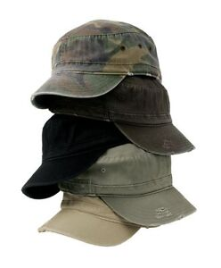 NEW-UNISEX-DISTRESSED-MILITARY-FIDEL-CADET-ARMY-HAT-CAP-100-COTTON-TWILL