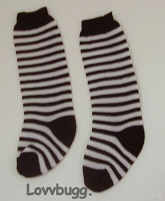 Lovvbugg Black Stripe Soccer Socks for 15-18 inch Doll Clothes