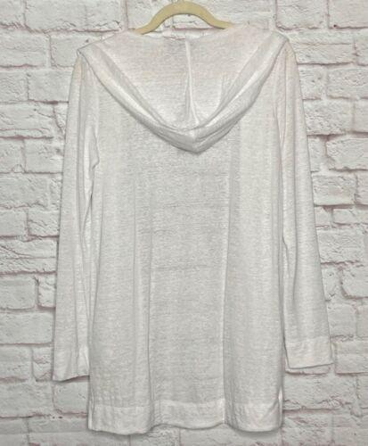 Small/Medium/Large/XL New Tahari White Linen Hoodie Cardigan Sweater Jacket 88$
