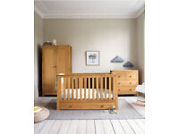 Nursery furniture, Matching Mamas & Papa Oak Cot, dresser and Wardrobe