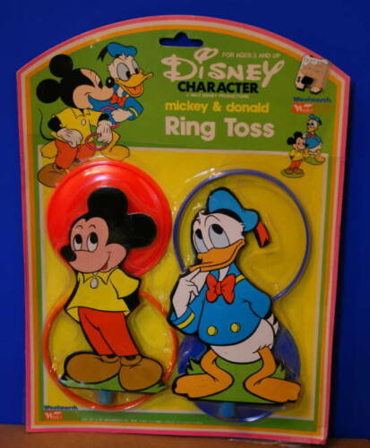 1950s? DISNEY CHARACTER Mickey & Donald RING TOSS Game New in WOOLWORTH Package!