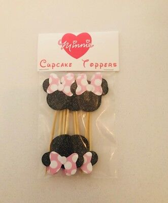 MINNIE MOUSE PARTY CUPCAKE TOPPERS BIRTHDAYS BABY SHOWERS SET OF 20 - Baby Minnie Mouse Party Supplies