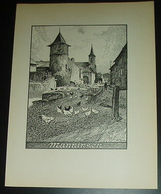 Manningen, Kreis Metz: alte Ansicht Druck ca 1920