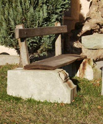 Sitzgelegenheit für 3 Personen aus antiker Eiche / Sandstein