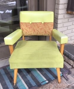 VINTAGE chair lime / apple green / chartreuse and red.  wow!