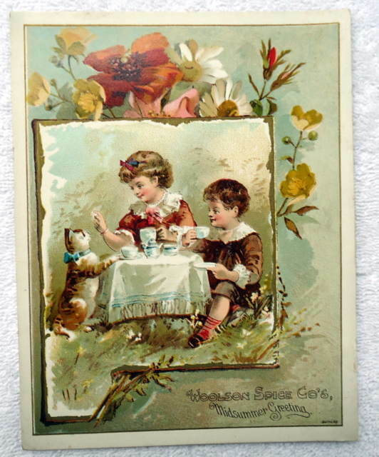 VICTORIAN TRADE CARD WOOLSON SPICE LION COFFEE CHILREN TEA TIME #C5