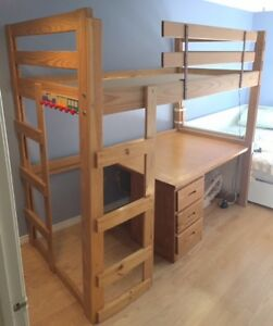 Crate Design Solid Wood Loft Bed with desk and drawers