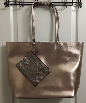 Bath & Body Works 2016 VIP Tote Bag Glitter Zipper Pouch ROSE GOLD - NO PRODUCT