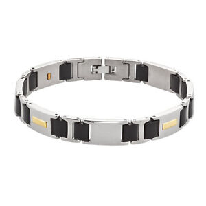 Mens-Stainless-Steel-and-14kt-Yellow-Gold-Link-Bracelet