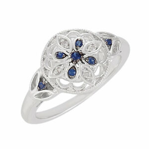 SIZE-8-Sapphire-and-Diamond-Sterling-Silver-Vintage-Style-Ring-FREE-Shipping