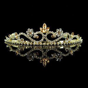 3cm High Wedding Prom Bride Bridemaid Golden Crystal Tiara Headband
