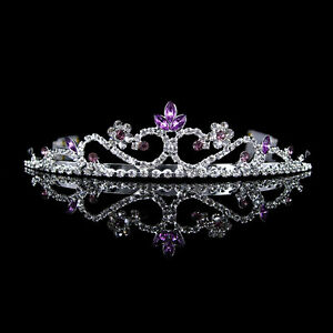3cm-High-Wedding-Prom-Purple-Crystal-Bridal-Flower-Girl-Tiara-Headband