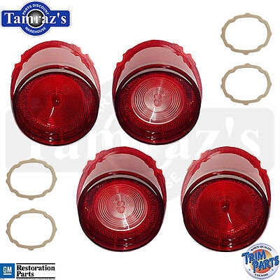 65 Biscayne Rear Tail Light Back Up Lamp Lens With Gaskets 8pc Made In Usa