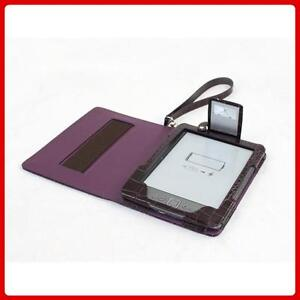 PURPLE LEATHER CASE COVER FOR NEW AMAZON KINDLE 4 WITH LED NIGHT READING LIGHT