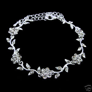Elegant Little Flower Leaf Wedding Bridal Austrian Crystal Bracelet