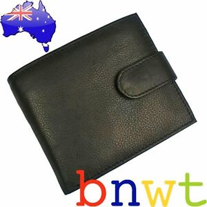 New …. Quality Black Genuine Oran Leather Mens Wallet