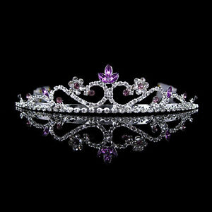 3cm High Wedding Prom Purple Crystal Bridal Flower Girl Tiara Headband
