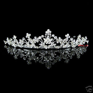 2.5cm High Exquisite Flower Leaf Bridal Bridesmaid Prom Party Crystal Tiara