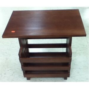 Rv furniture wood side table with magazine holder travel trailer camper ebay - Rv side tables ...