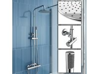 BRAND NEW BOXED ROUND TWIN HEAD THERMOSTATIC SHOWER MIXER CHROME BATHROOM EXPOSED VALVE SET
