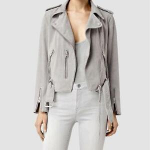 All Saints Leather Balfern Grey Suede Jacket / Manteau Gris Cuir