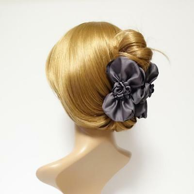 Handmade Flower Decorated Multi Layer Satin Bow Hair Jaw Claw Clip  ()