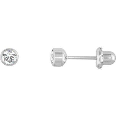 Crystal Inverness Piercing Bezel Setting Earrings in Titanium