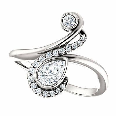 Diamond Bezel-Set Bypass Ring In Sterling Silver (1/2 ct. tw.) 1/2 Ct Diamond Pear Bezel