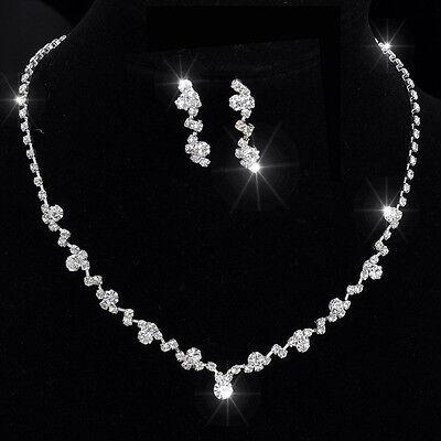 Trend Hochzeits Braut Schmuck Set Kette mit Ohrringe elegant neu 003