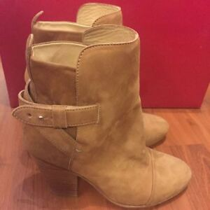 New Rag and Bone Kinsey Boots Booties, Suede Camel, Size 36