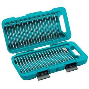 makita p 90299 flat drill bit set 150mm long 1 4 hex shank in case 40 piece ebay. Black Bedroom Furniture Sets. Home Design Ideas