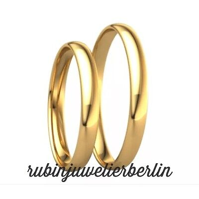 2x585 GOLD Trauringe PAARPREIS Eheringe Paarringe,Gelbgold INKL Gravur.