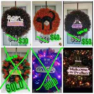 """ The Witch is in "" An EPIC l.e.d. lit Halloween wreath!"