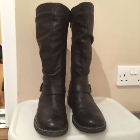 Girls Black Leather Boots size 2