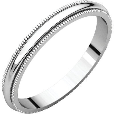 2.5mm 14K Solid White Gold Milgrain Half Round Comfort Fit Wedding Band Size 5