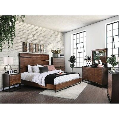 Contemporary Dark Walnut Finish Bedroom Furniture 1piece Queen Size Panel Bed