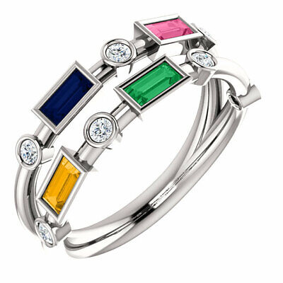 Two Row Baguette Stones Family Ring Sterling SILVER Ring 1-5
