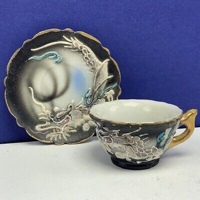 Japan Teacup saucer ancient chinese dragon art monster serving saki cup vtg -