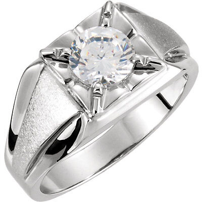 1.00 carat Round cut Diamond 14k White Gold Solitaire Mens Ring GIA H color SI2