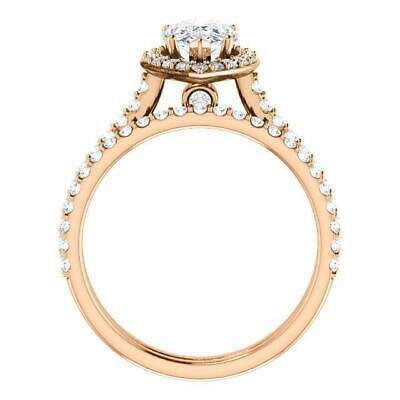 2.50 Ctw Halo Pear Cut U-Setting Pave Diamond Engagement Ring Set F,SI1 14K WG 8