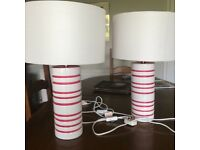 Two matching ceramic table lamps