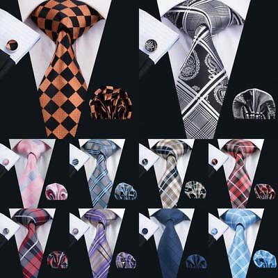 USA Classic Mens Tie Red Black Blue Green Silk Necktie Plaid Check Woven Tie (Plaid Woven Tie)