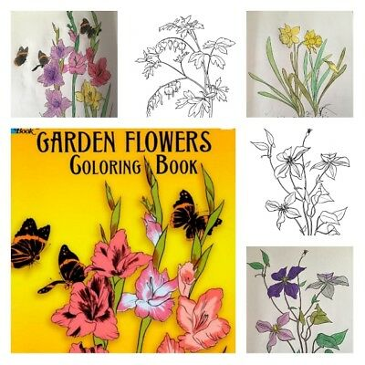 Adult Coloring Books For Kids Art Color Relaxation Dover Garden Flowers Designs - Kids Coloring Books