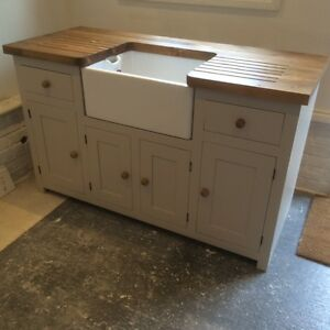 Kitchen Sink Unit Free Standing Solid Pine with Belfast Sink and Pine Worktop