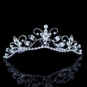 Beautiful Butterfly Flower Wedding Prom Clear Crystal Bridal Girl Tiara Headband
