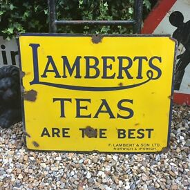 Enamel Sign. Lamberts Teas. Antique. Vintage.