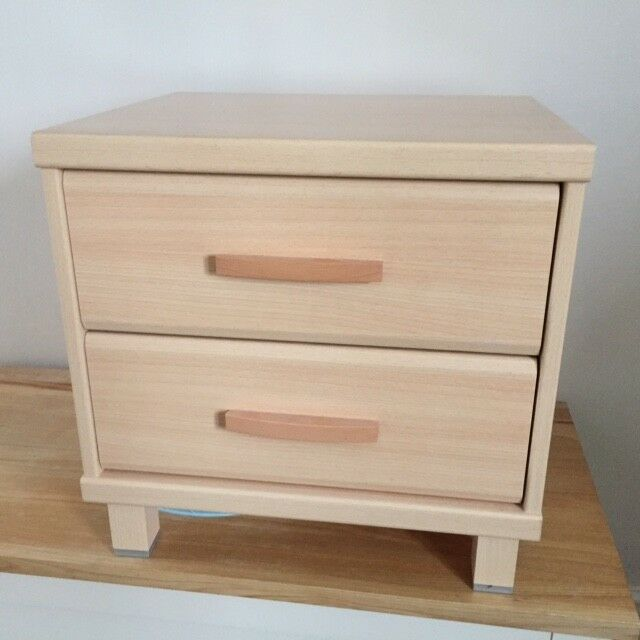 Bedside Table/Two drawer chest in light wood, excellent condition