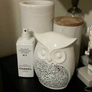 Owl Statue With Silver Mirror Mosaic Detail White Porcelain Cream Chatswood Willoughby Area Preview