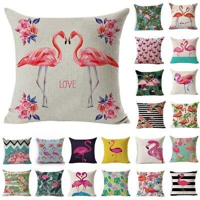 Valentine's Day Flamingo Cotton Linen Pillow Case Throw Cushion Cover Home Decor